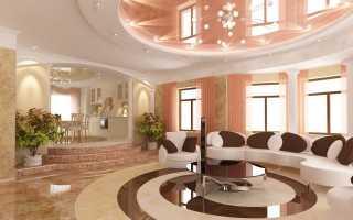 Комбинированные натяжные потолки: одноуровневые и многоуровневые конструкции из двух цветов