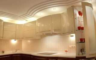 Подвесной потолок на кухне: изготовление гипсокартонной, натяжной и реечной конструкции