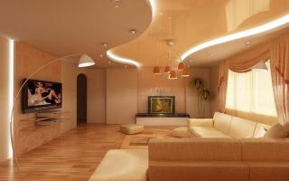 Как сделать многоуровневые натяжные потолки с подсветкой своими руками в зале